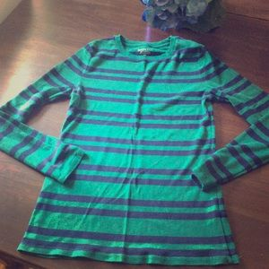 Green and navy striped shirt